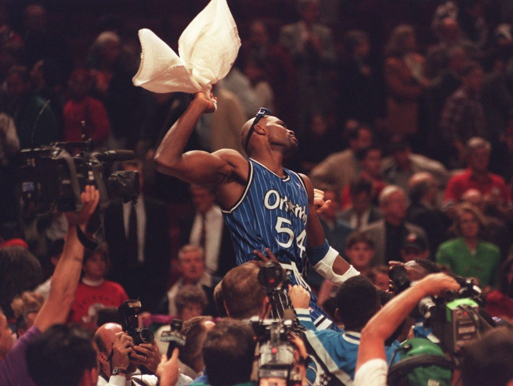 Horace Grant celebrates after the Orlando Magic beat the Bulls in Chicago.