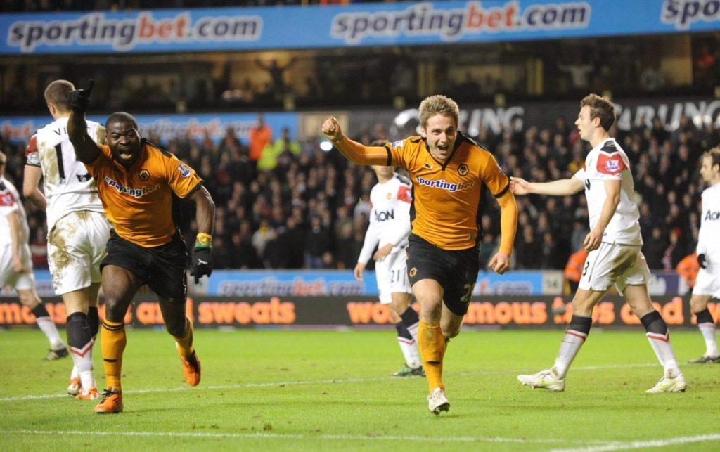 Kevin Doyle Celebrates After Scoring for Hull v. Manchester United