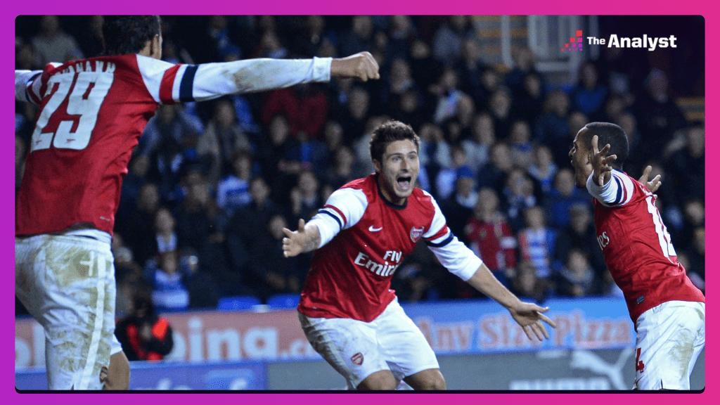 Olivier Giroud and Theo Walcott celebrate Arsenal's sixth goal in the 7-5 win over Reading