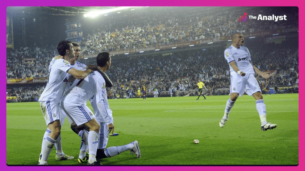 Ronaldo celebrates scoring against Barcelona for Real Madrid in their 2011 Copa del Rey final win.