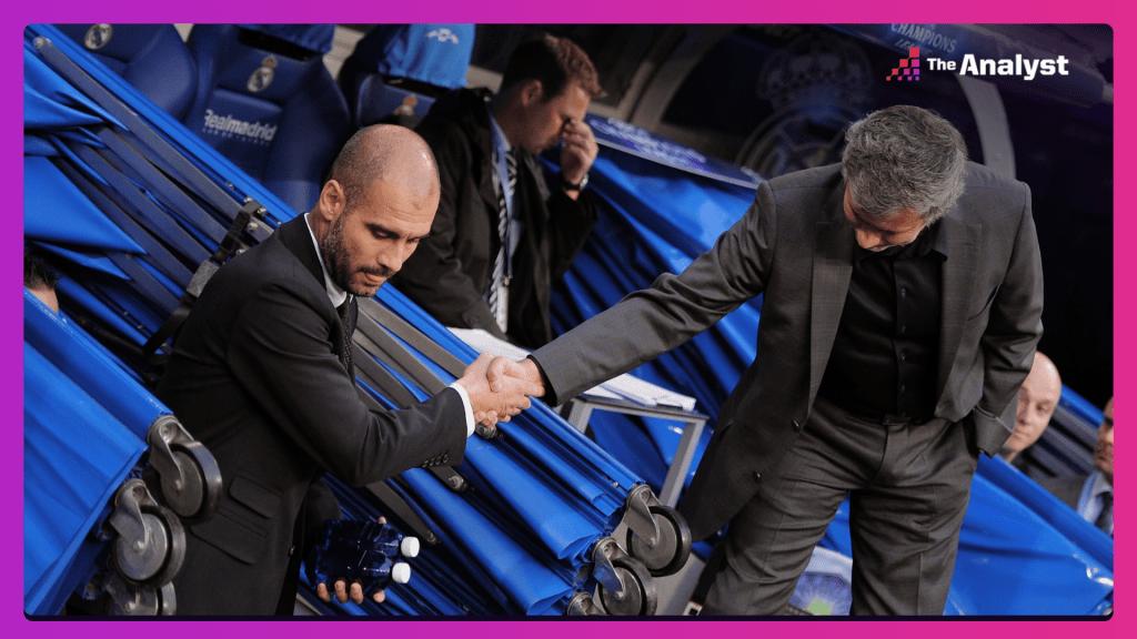 Pep Guardiola and Jose Mourinho shake hands ahead of El Clasico