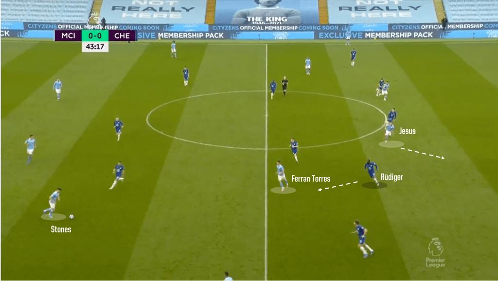 Rudiger drawn towards ball 1